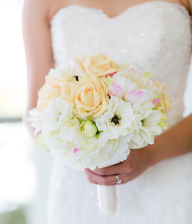 Beautiful detail on bouquet at Moon Palace Cancun Wedding Photographs
