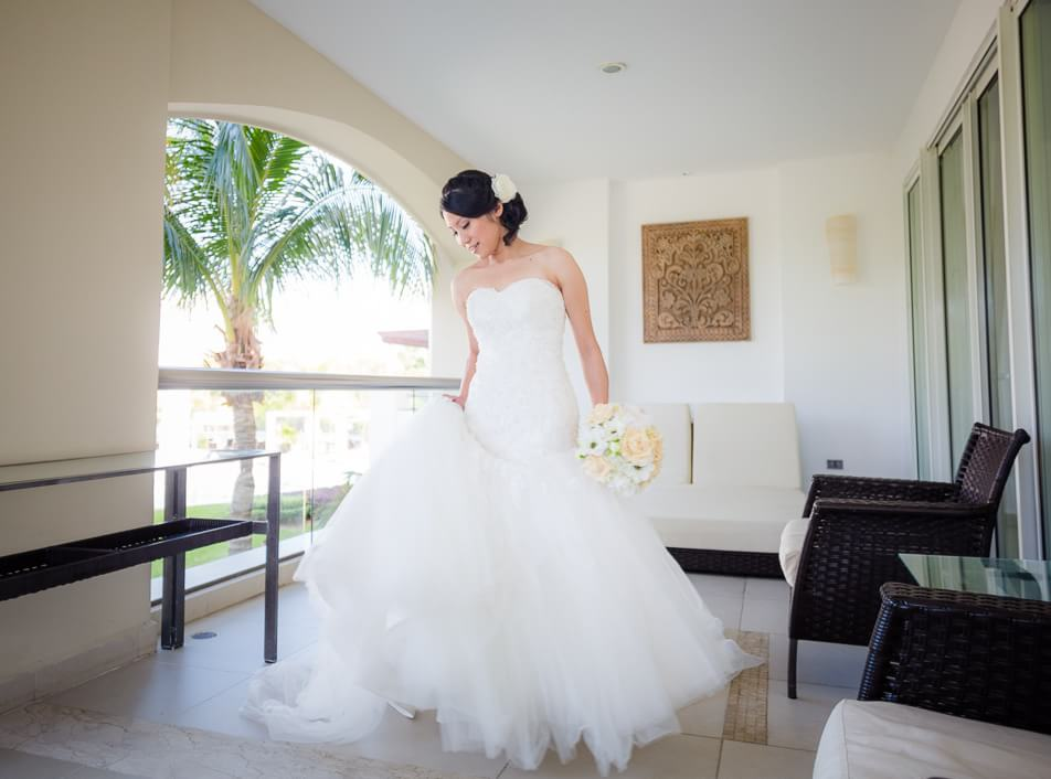 Bride looking gorgeous at Moon Palace Cancun
