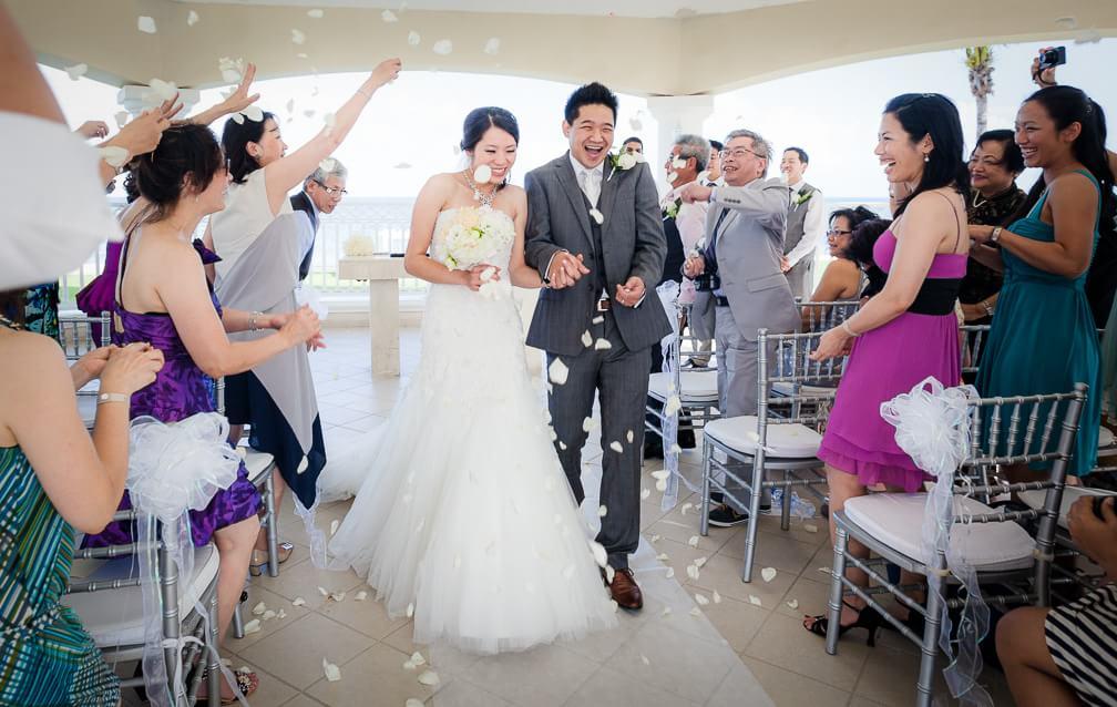Happy couple at Moon Palace Cancun Wedding