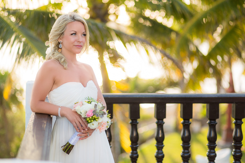 Portrait of bride with wedding dress on Riviera Maya, Mexico