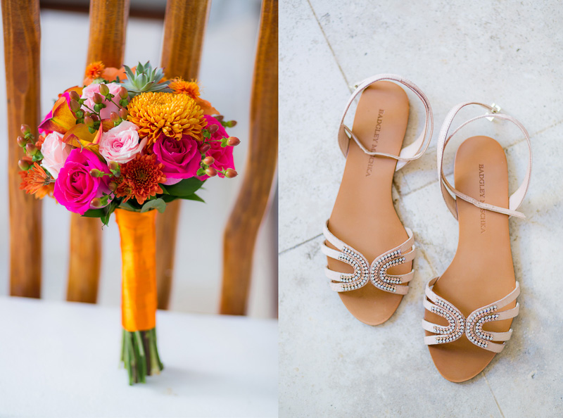 Brides sandals and bouquet