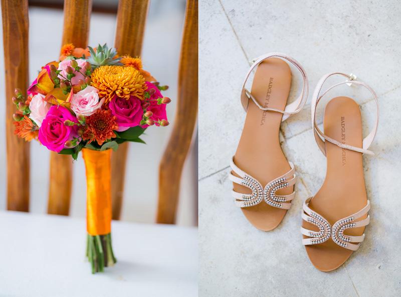 Brides sandals and bouquet