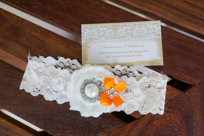 Close up of brides garter.