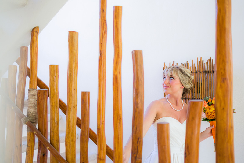 Portait of bride before wedding in Playa del Carmen