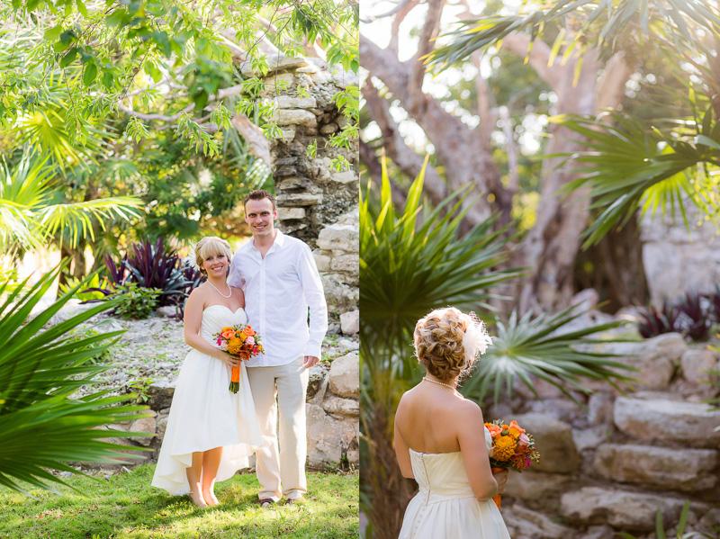 Bride and Groom on Mayan Ruins in Playa del Carmen.