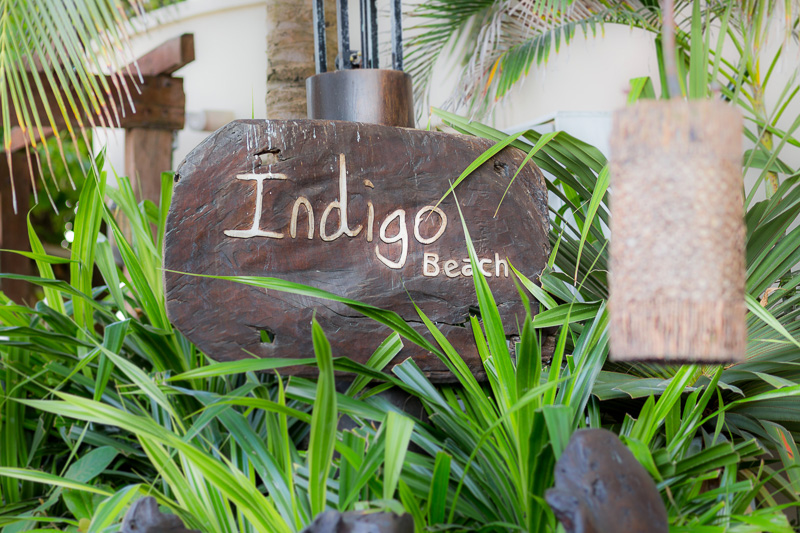 Sign for Indigo beach club.