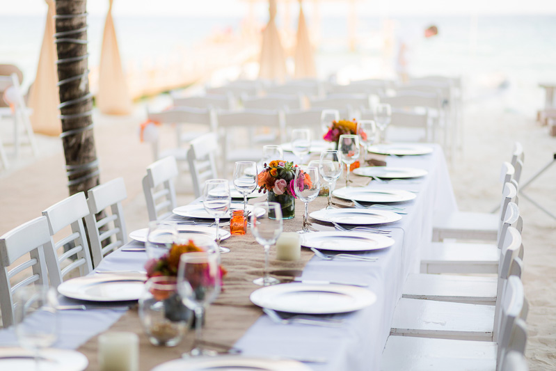 Reception set up at Indigo beach club.