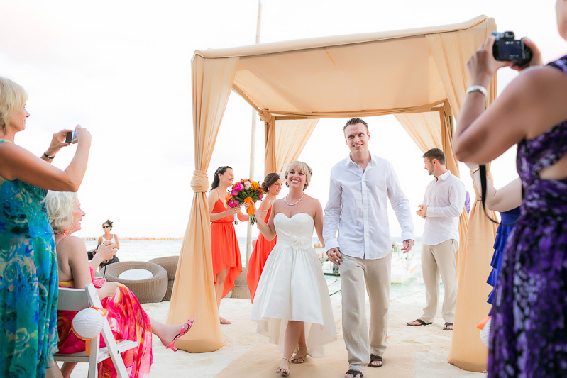 Bride and groom after wedding ceremony.