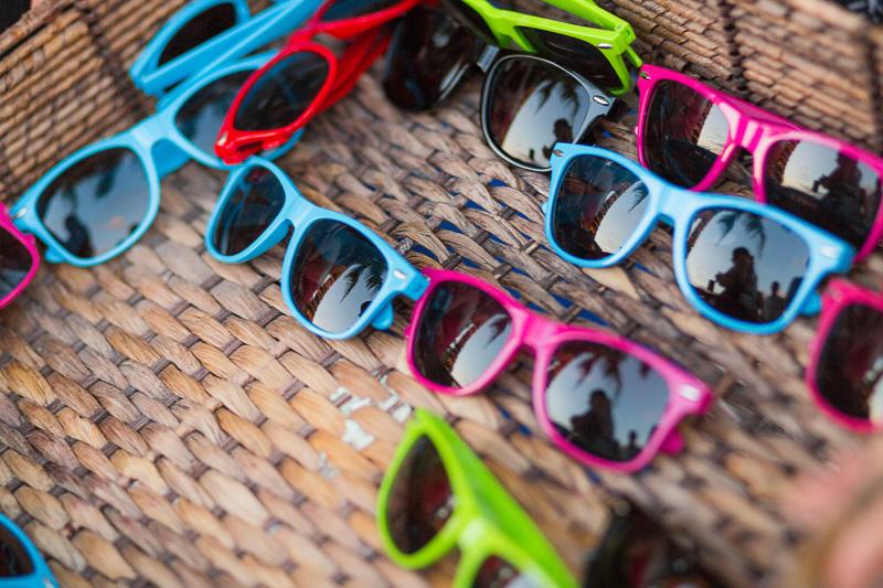 Custom sunglasses at wedding