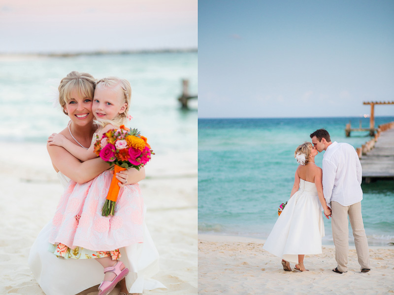 Bride with flower girl and groom on beach in Playa del carmen