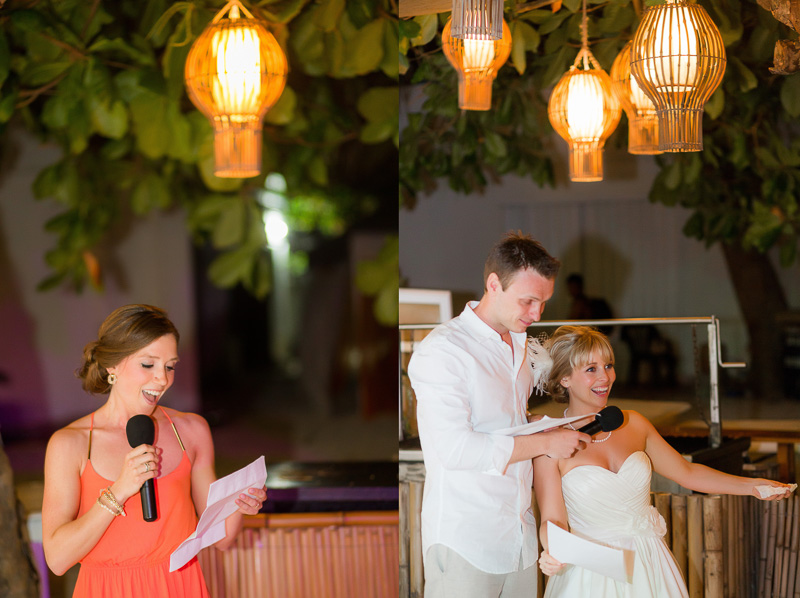Bride and groom doing speech in playa del carmen