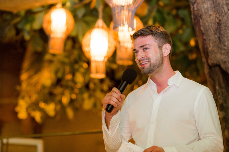 Best man doing speech at wedding in Playa del Carmen