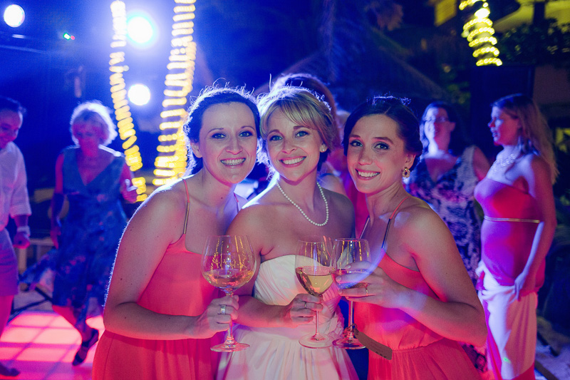 Bride and bridesmaids at wedding reception