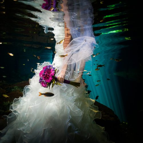 half bride dress and bouquet for underwater trash the dress in Mayan Cenote, Riviera Maya
