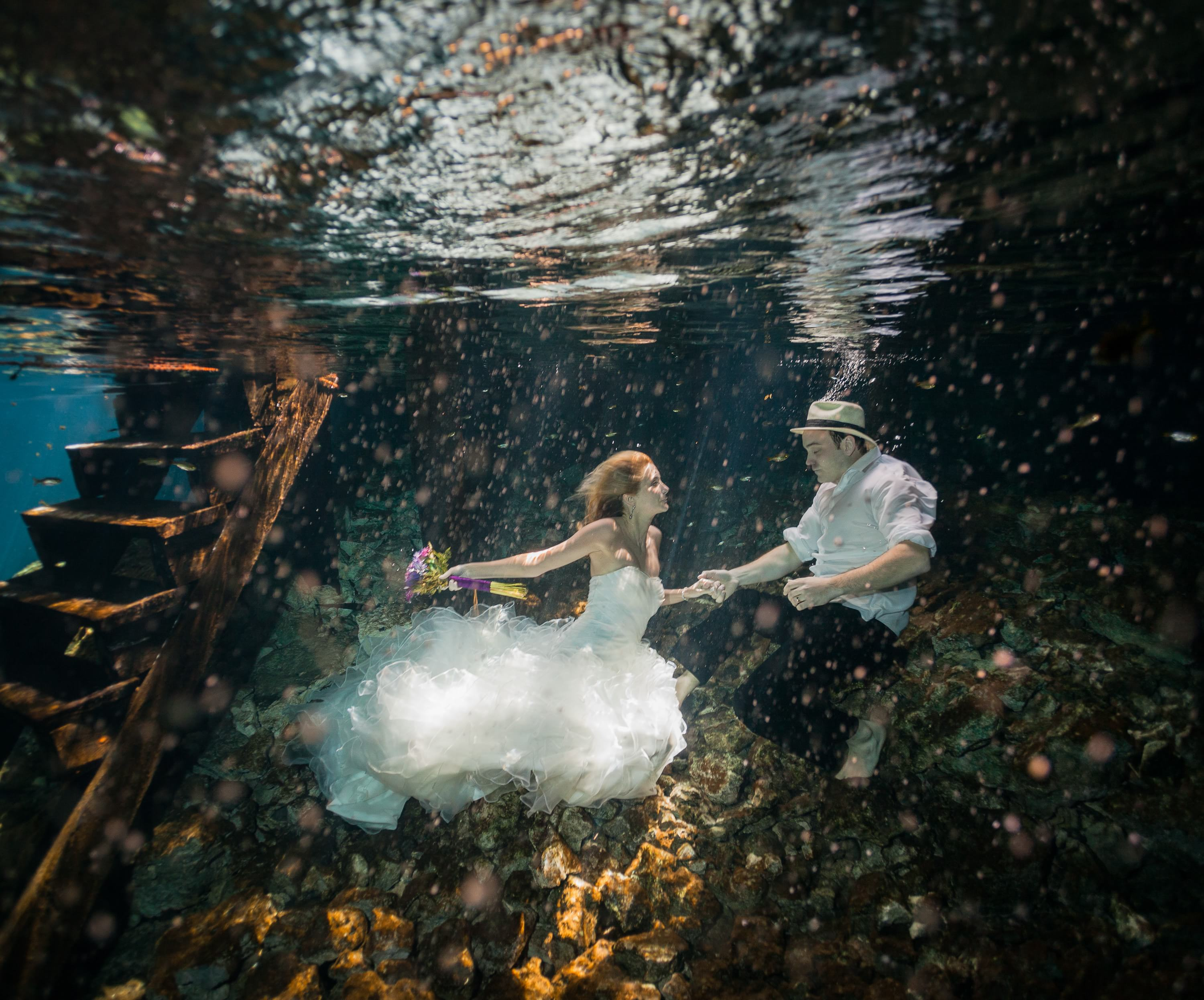 Underwater Mexico Trash the Dress wedding photography