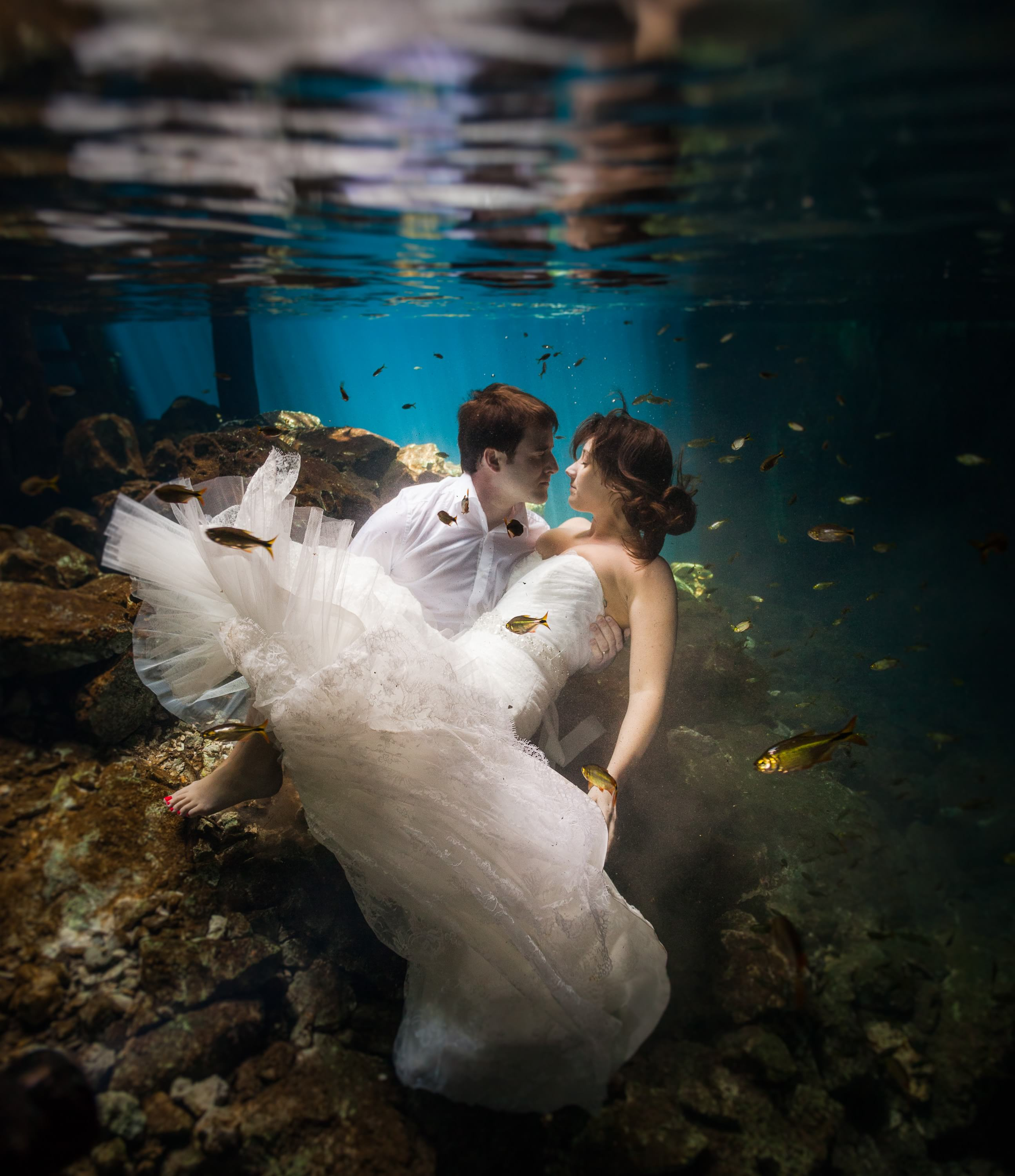 Underwater trash the dress