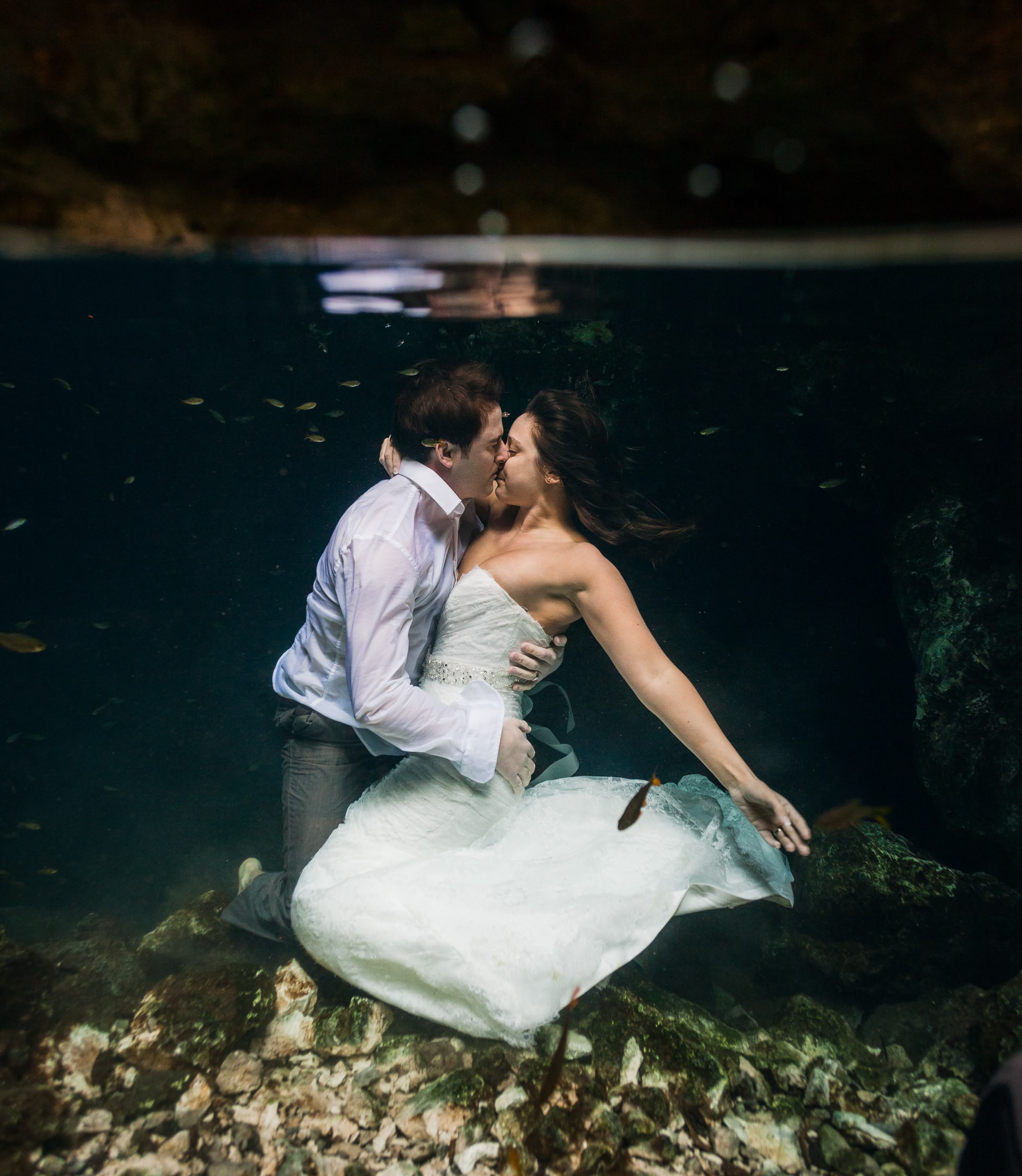 amazing photo of Riviera Maya Cenote Trash the Dress