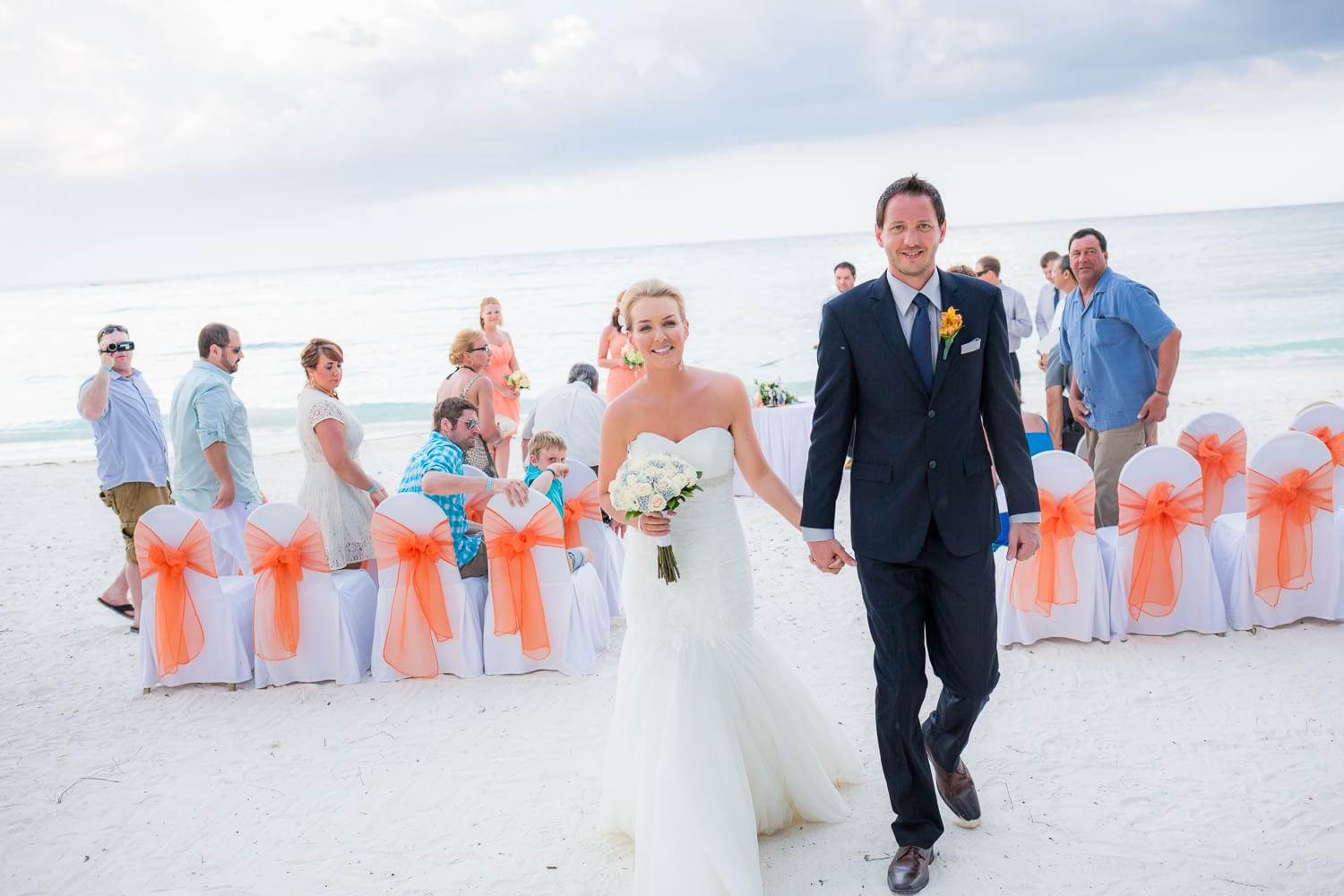 Couple after their Mexico wedding at the Barcelo Maya Resort.