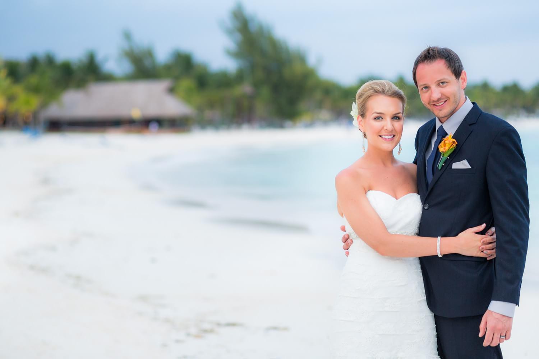 Couple on beach at at Barceló Maya Beach Wedding