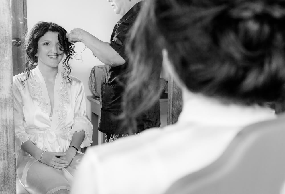 Bride getting ready before Tulum wedding photography.