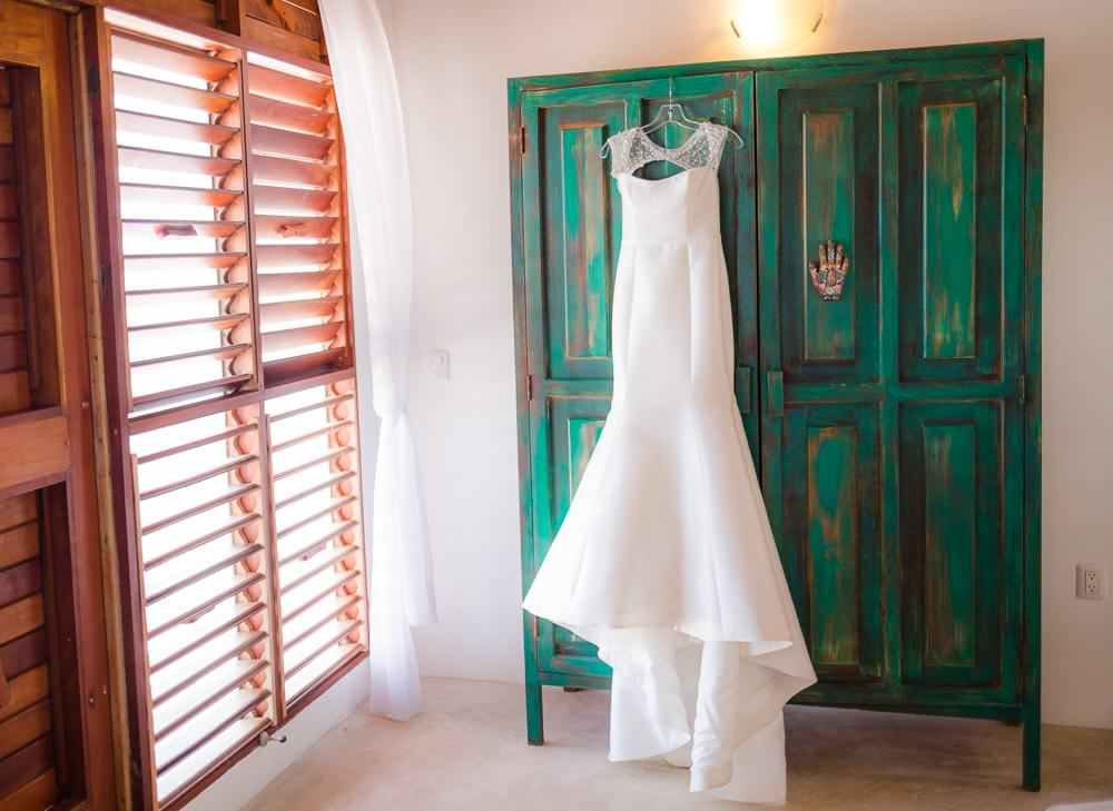 Dress hanging before Tulum wedding