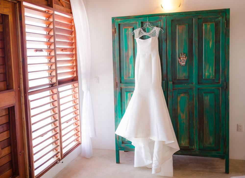 Dress hanging before Tulum wedding