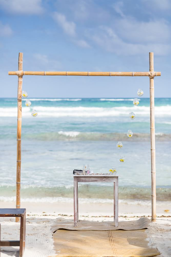 Ceremony location at El Pez Tulum Wedding