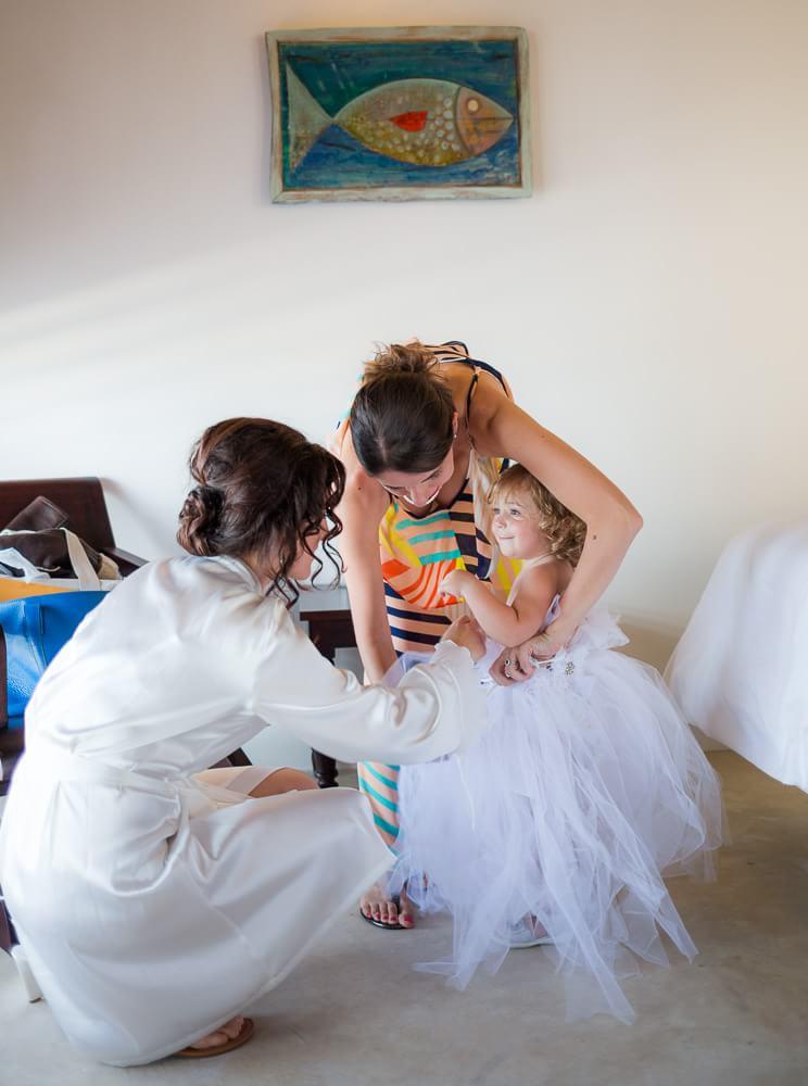 flower girl getting ready at Tulum wedding