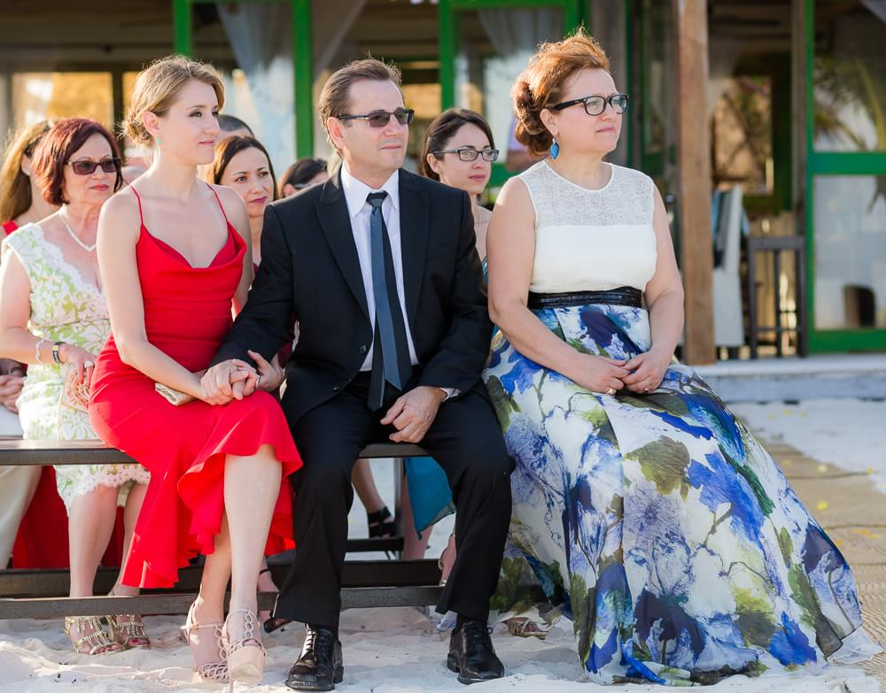 Guests at Tulum wedding on beach