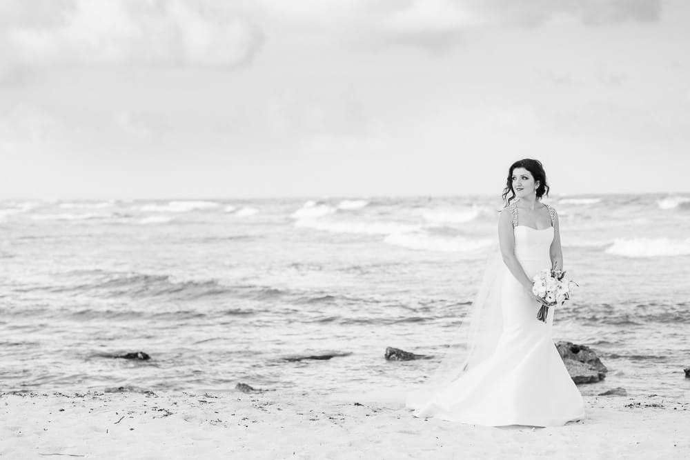 Beautiful portrait of bride at Tulum Wedding