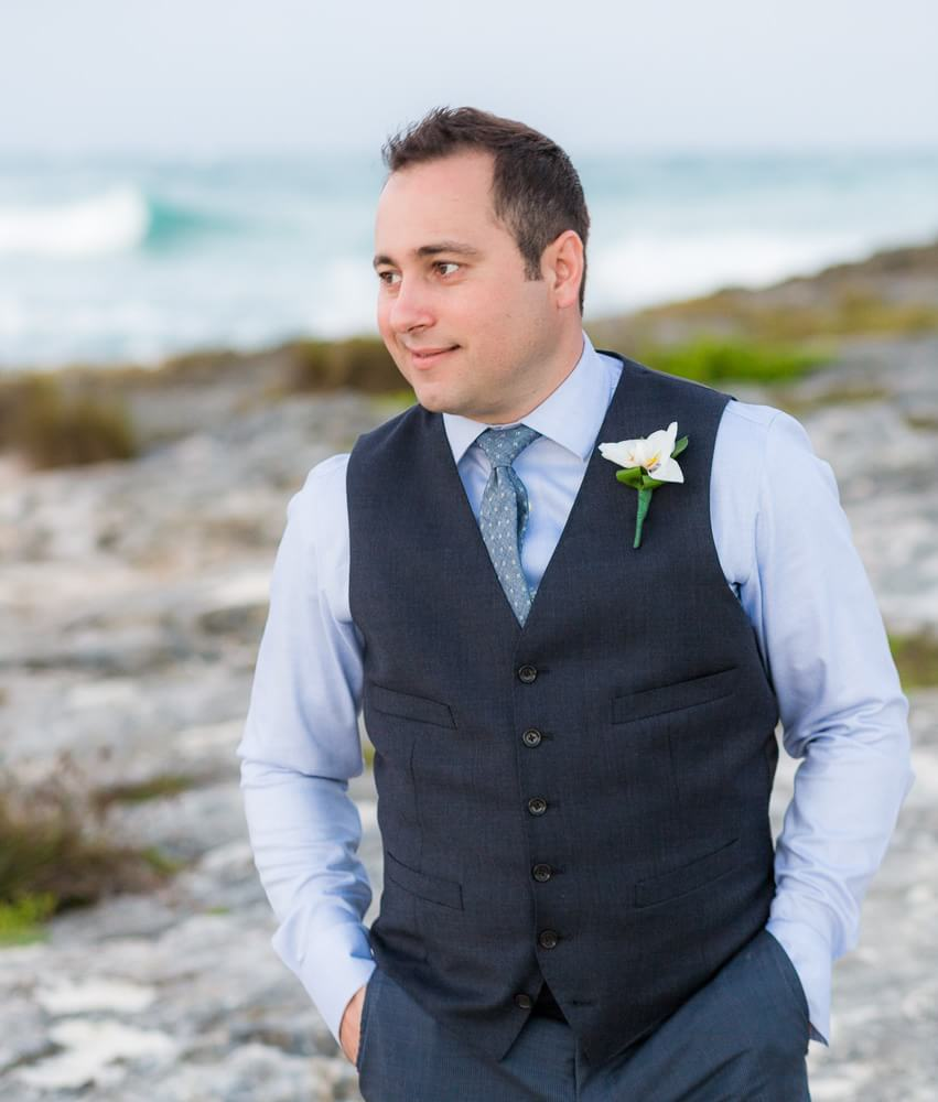 Groom Portrait by Tulum wedding photographer