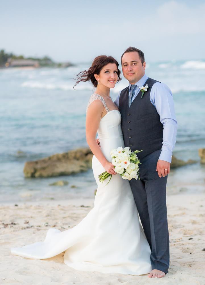 Couple portrait at beach wedding in Tulum