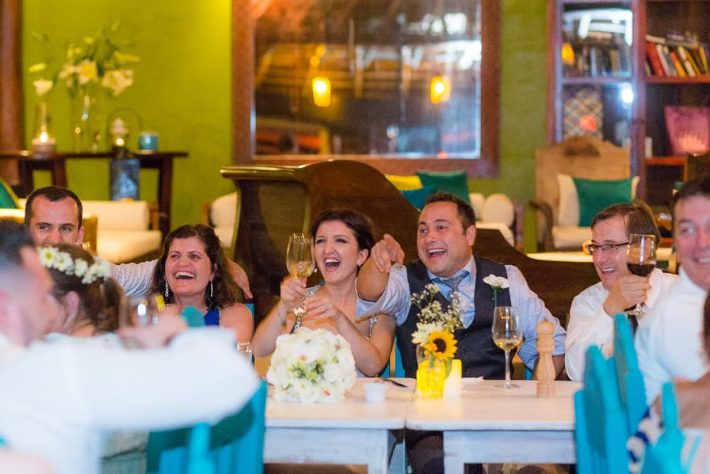 Couple having fun at El Pez Wedding