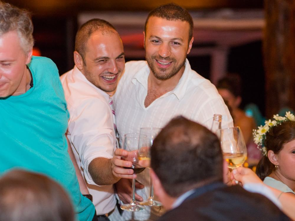 Guests drinking at Tulum wedding.