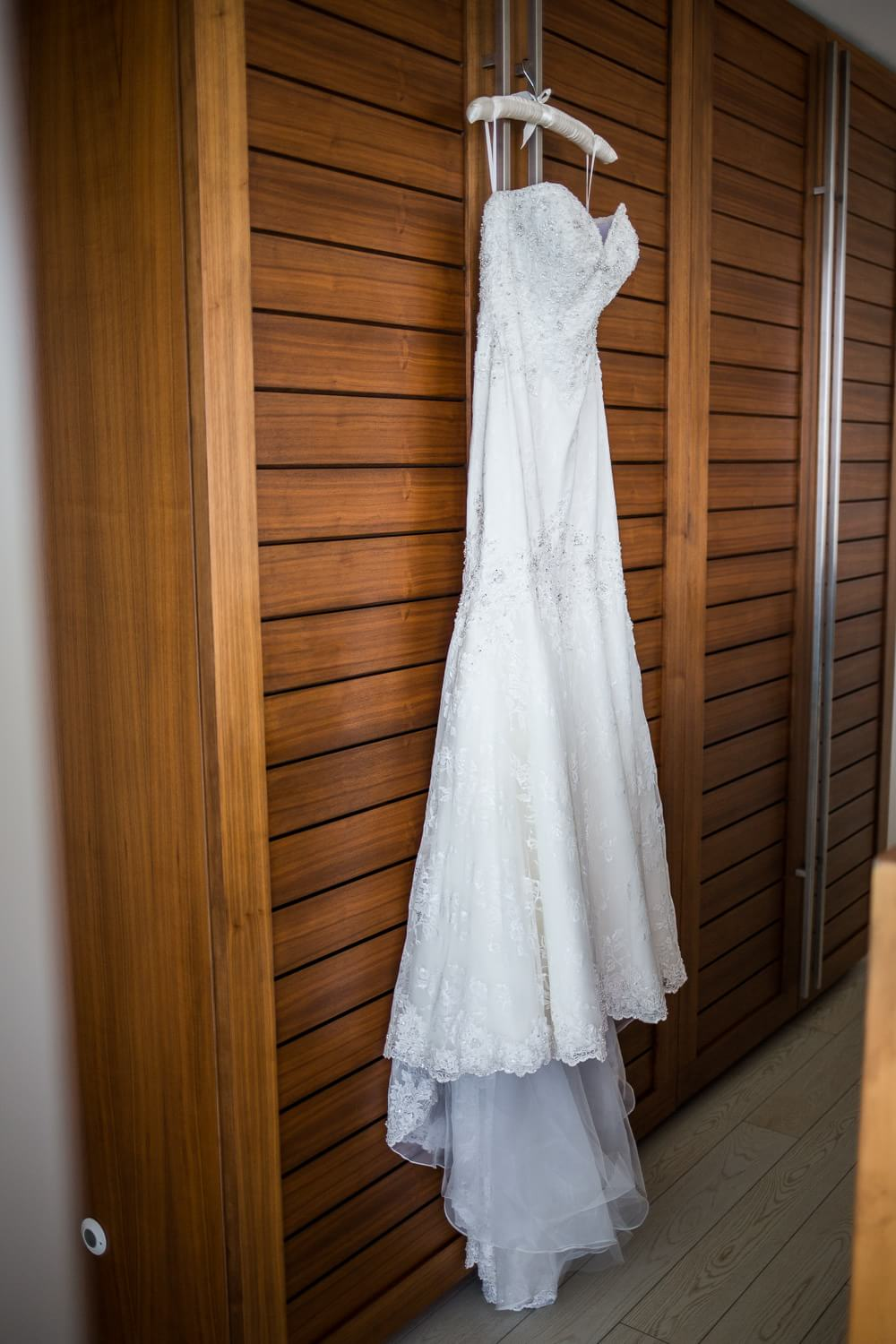 Dress hanging at Cancun wedding.