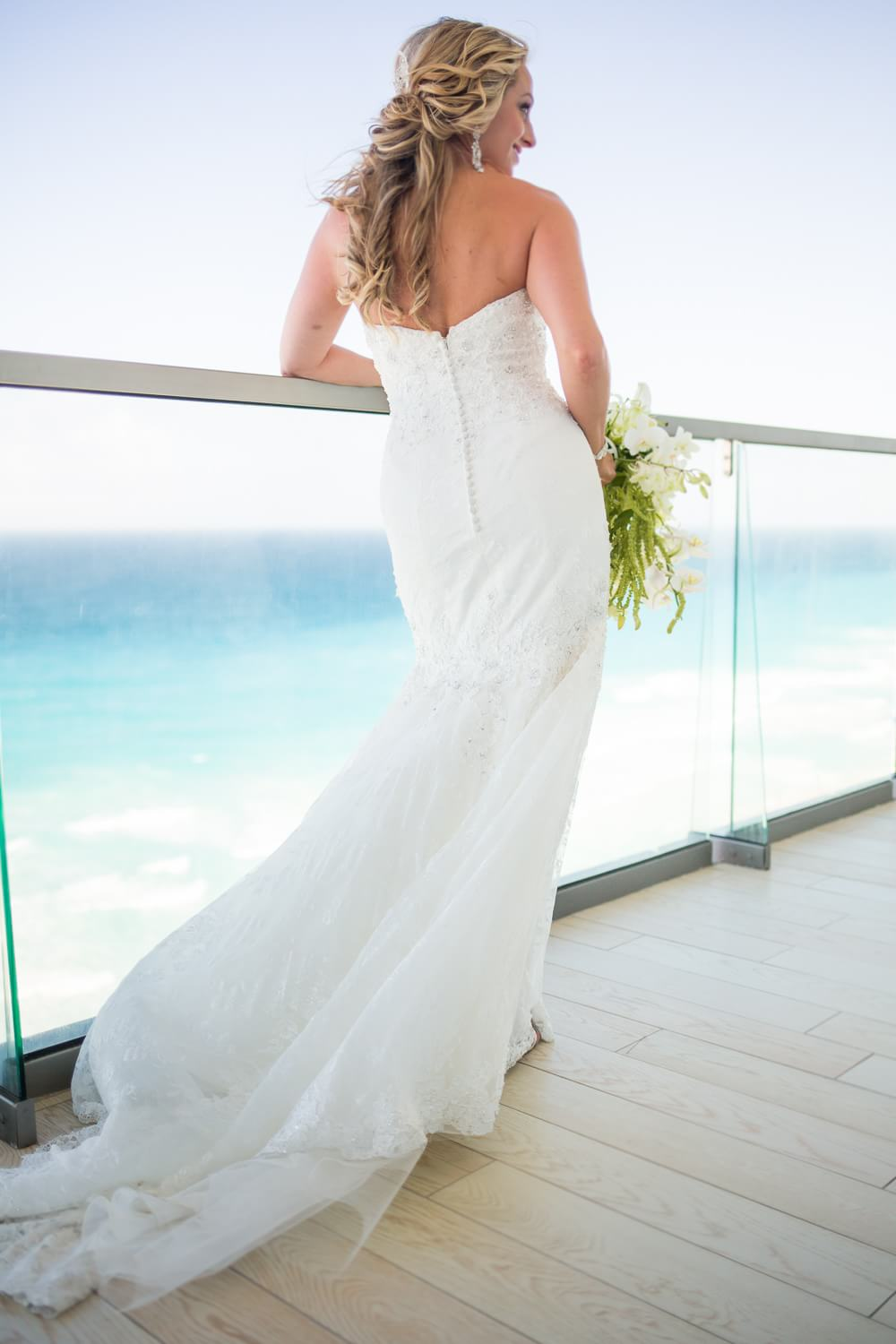 Back of bridal dress at Cancun wedding