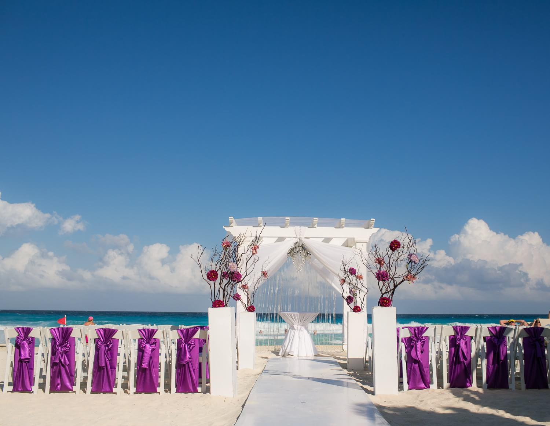 Ceremony set up at secrets at the vine Cancun wedding.