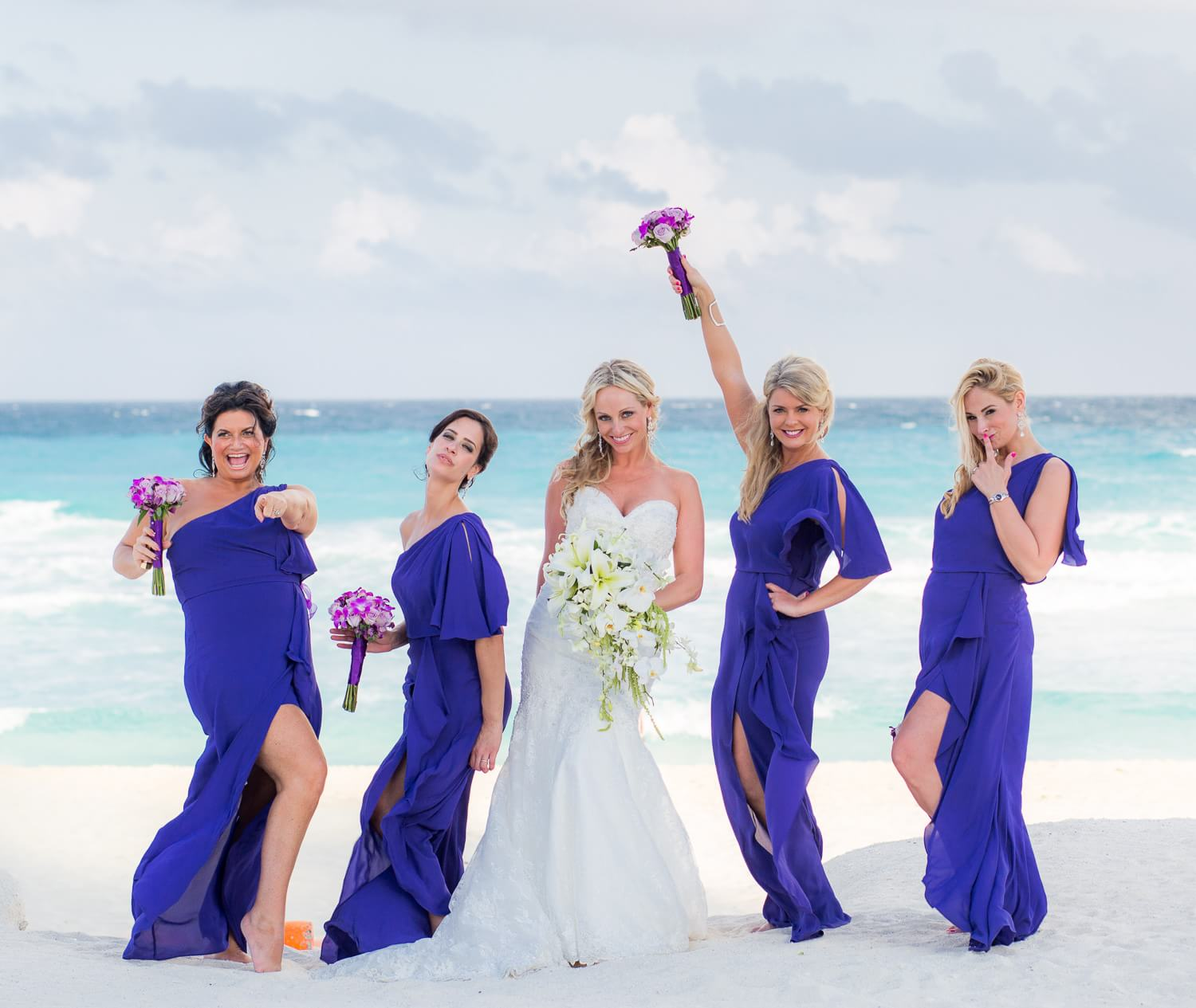 Bridesmaids on the beach at Cancun wedding