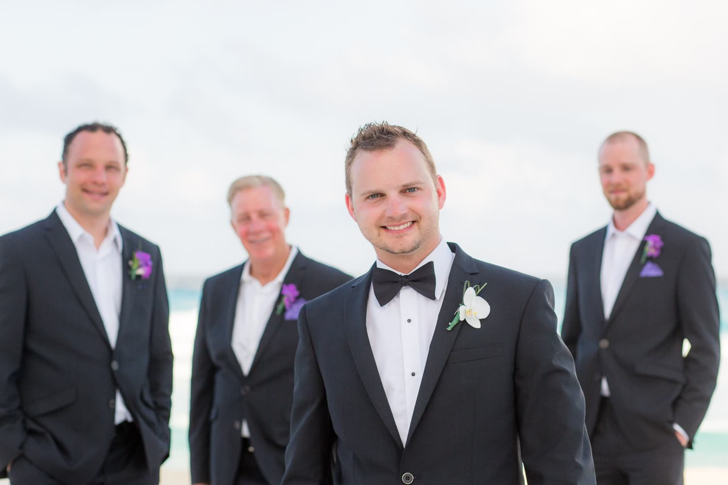 Groomsmen by cancun wedding photographer