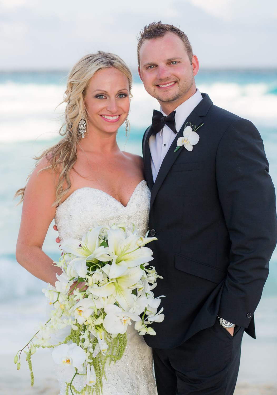 Couple on beach at cancun wedding photographer