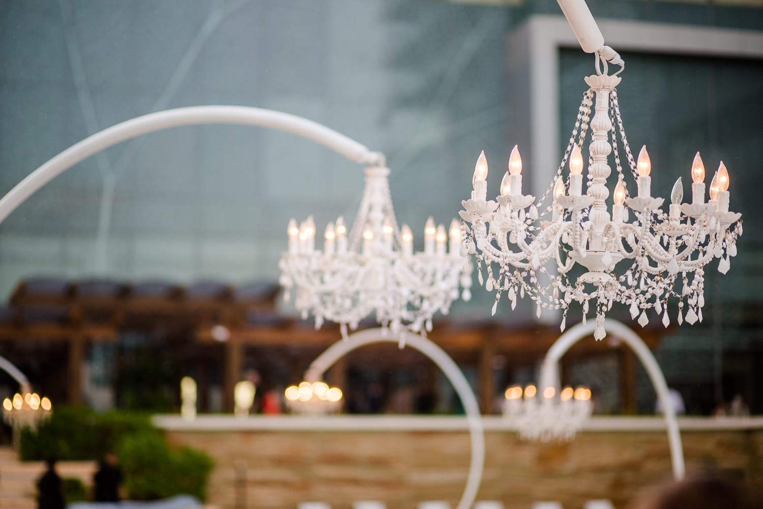 Chandeliers at Secrets the Vine Cancun wedding