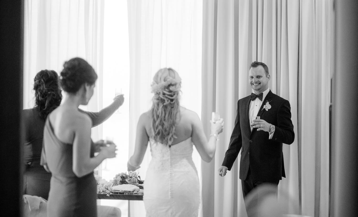 Bridal party in room at Cancun wedding