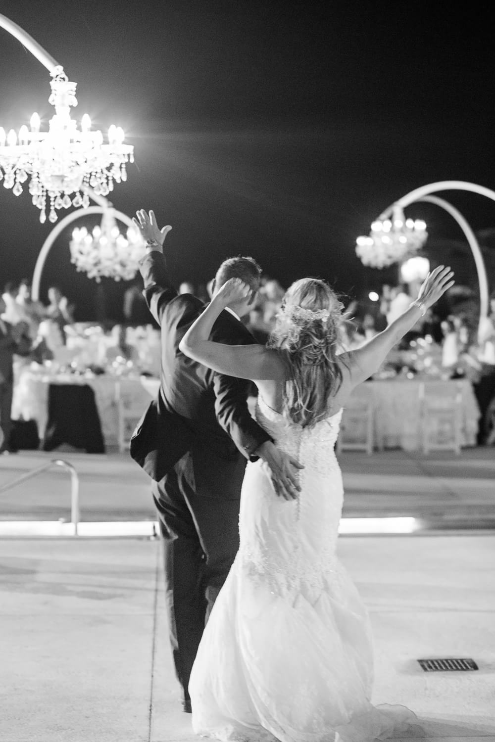 Bride and groom after first dance at cancun wedding