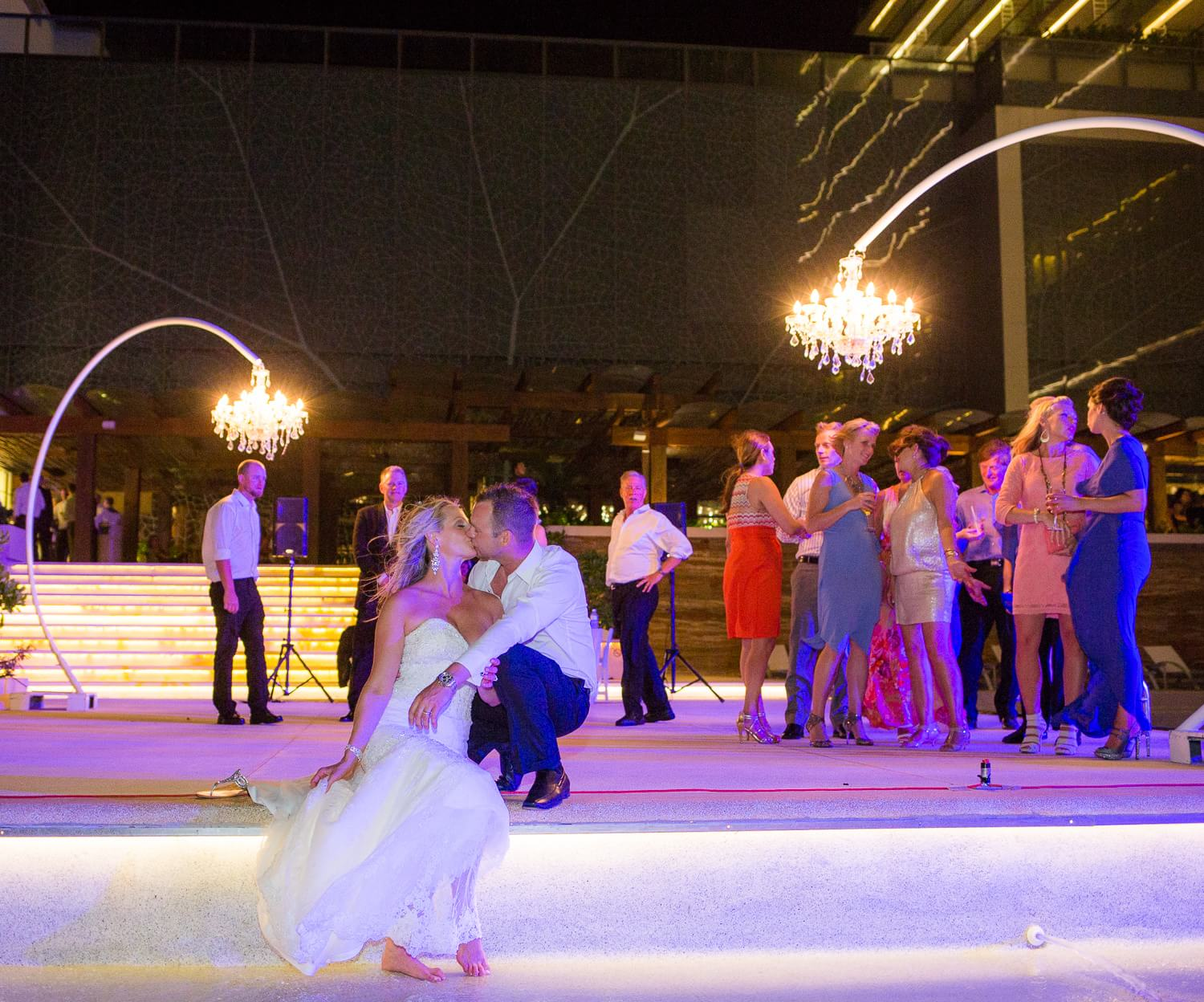 Coupe at reception at Secrets the Vine Cancun wedding