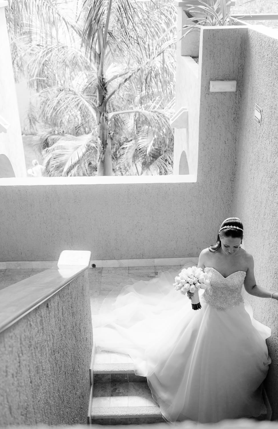 Bride walking to ceremony at Grand Palladium Mexico Wedding
