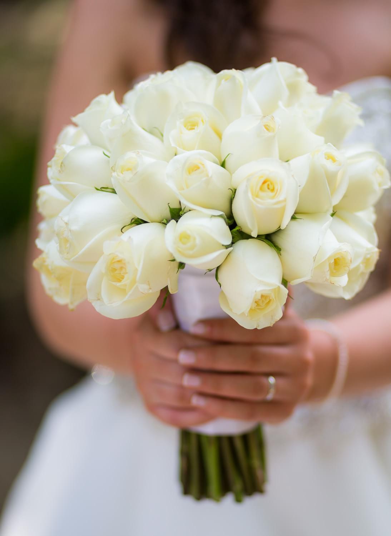 Brides boquete of roses at wedding in Mexico.