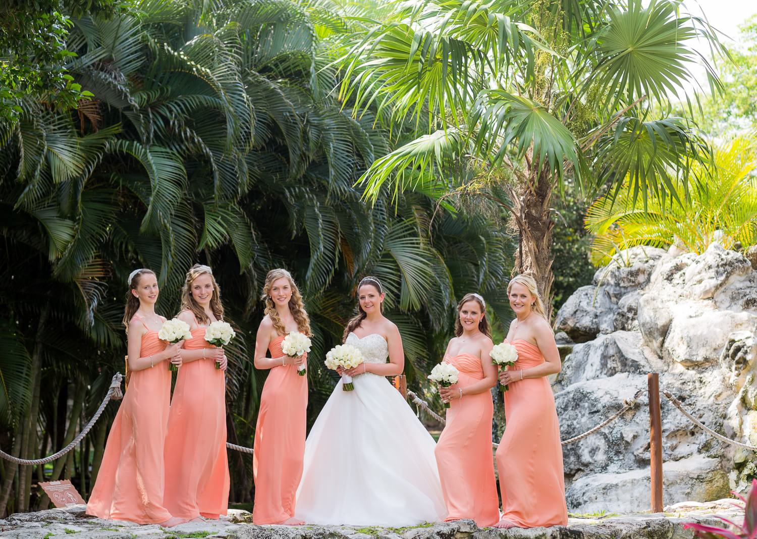 Bridesmaids at wedding in Mexico