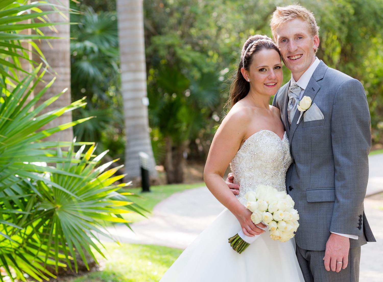 Portrait of couple at wedding.