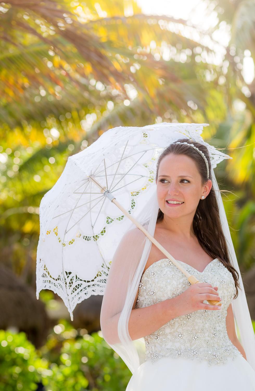 Portrait of bride at wedding in Mexico.