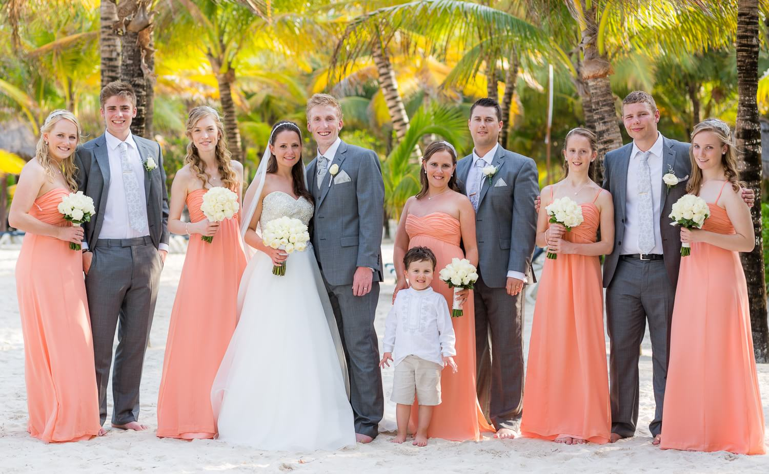 Bridal party on beach in Mexico